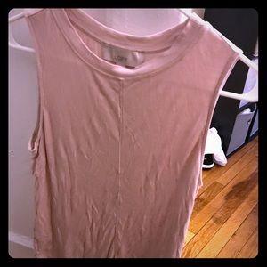Pale Pink Loft Cotton Tank- High neck